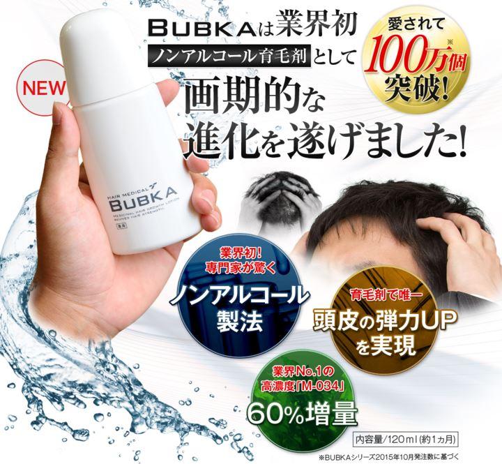 ブブカBUBKA育毛剤は効かない。衝撃の結果報告発表!